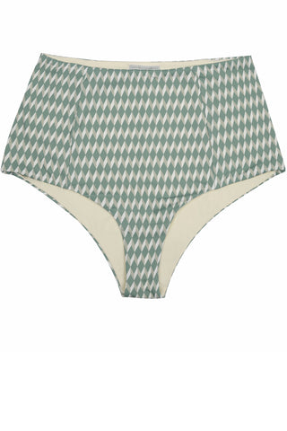 High waisted bikini in green cream geometric print, reversible with a retro look by Caroline af Rosenborg