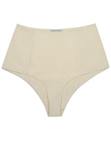 White high waisted bikini bottom in ivory cream it is reversible with a retro look by Caroline af Rosenborg