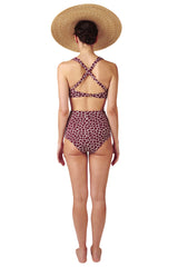 High waisted bikini bottoms in dark red burgundy giraffe it is reversible with animal print by Caroline af Rosenborg