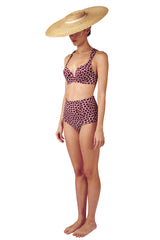 High waisted bikini bottoms in dark red burgundy giraffe animal print by Caroline af Rosenborg