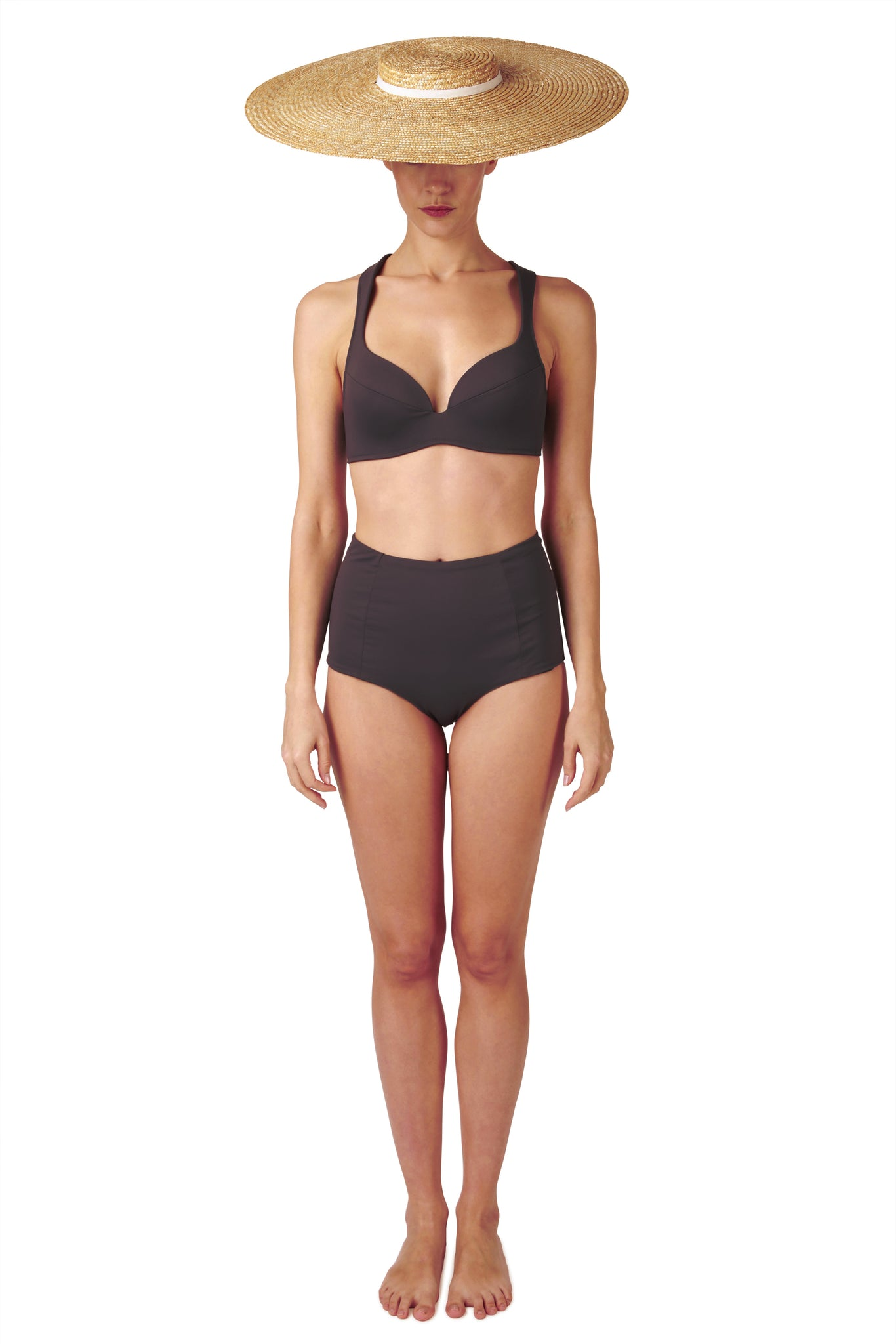High waisted bikini in charcoal with retro look and reversible by Caroline af Rosenborg