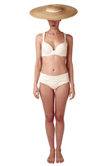High waisted reversible retro bikini in ivory white cream by Caroline af Rosenborg