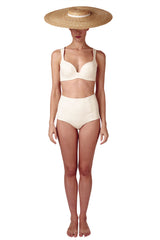 White high waisted bikini in ivory cream it is reversible with a retro look by Caroline af Rosenborg