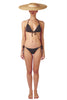 Side tie front opening bikini in grey black charcoal by Caroline af Rosenborg