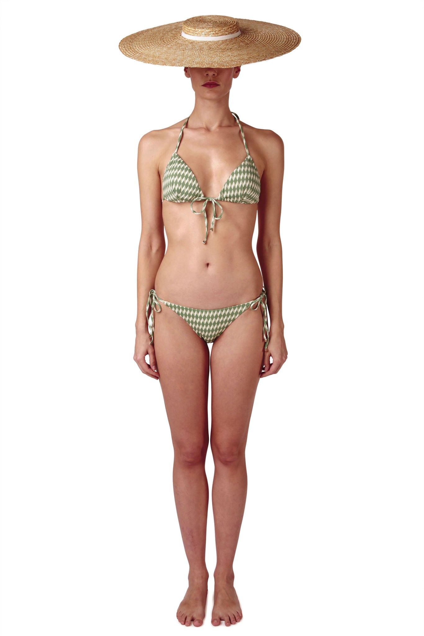 Side tie front opening green bikini triangle shape in cream white geometric tile print by Caroline af Rosenborg