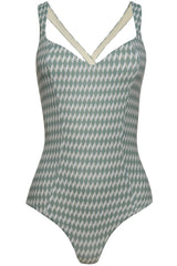 Sweetheart neckline green swimsuit with cream white geometric diamond print with deep cross back