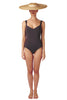 Sweetheart neckline swimsuit in grey black charcoal with deep back by Caroline af Rosenborg
