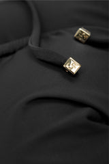 Detail bikini top in grey black charcoal with gold cubes by Caroline af Rosenborg