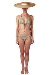 Front tie triangle bikini top and bottom in sage green cream ivory white diamond print with gold cube detail by Caroline af Rosenborg