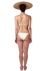 Front tie triangle top and side tie bottoms in cream ivory white with gold cubes by Caroline af Rosenborg