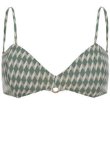 Bandeau bikini top in green sage diamond print by Caroline af Rosenborg