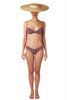 Bandeau bikini top and bottom in burgundy red giraffe print with boning by Caroline af Rosenborg