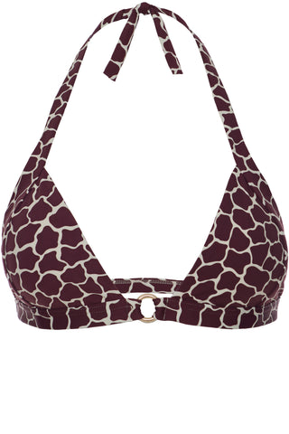 TOP - The Soft Halter-neck - Bordeaux Giraffe Print