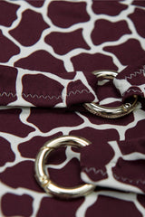 Detail shot of Front opening halter neck bikini top in burgundy red by Caroline af Rosenborg