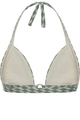 Front opening halter neck bikini top in sage green geometric print with cream white by Caroline af Rosenborg