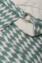 Detail shot front opening halter neck bikini top in sage green geometric print with cream white by Caroline af Rosenborg