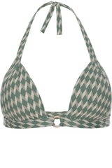 Front opening bikini top in sage green geometric print with cream white by Caroline af Rosenborg
