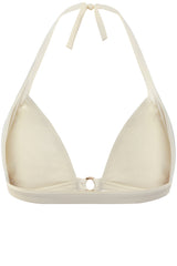 Front opening halter neck bikini top in cream white by Caroline af Rosenborg