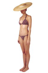 Front opening halter neck bikini top and side ring bottom in burgundy red by Caroline af Rosenborg