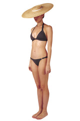 Front opening halter neck bikini top and side ring bikini bottoms in grey black charcoal by Caroline af Rosenborg