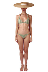 Front opening halter neck bikini top and ring bottom in sage green geometric print with cream white by Caroline af Rosenborg