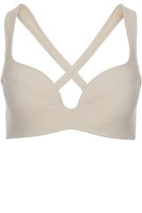Padded cross back ring detail bikini top in cream white by Caroline af Rosenborg