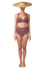 Padded cross back bikini top and bottom in burgundy red by Caroline af Rosenborg