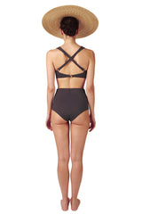 Padded cross back ring detail bikini top with high waisted pants in grey black charcoal by Caroline af Rosenborg