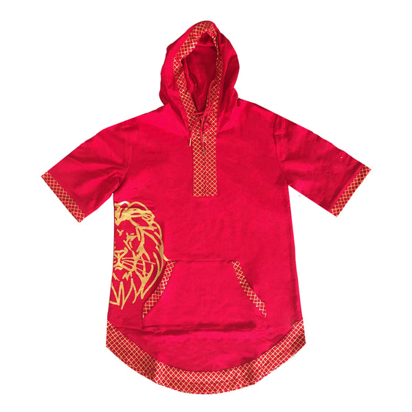 Short Sleeve Judah Hoodie in Red