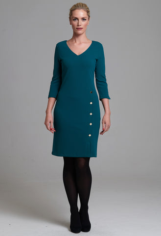 1004 Green V-neck Button Dress