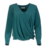 L 1006 Green Wrap Blouse
