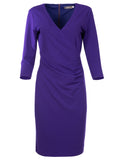 L 1008 Purple Crossover Dress