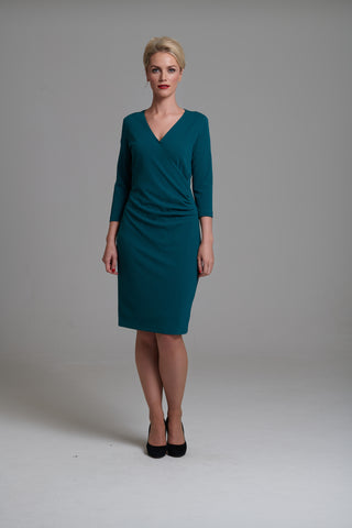 1008 Emerald Green Crossover Dress