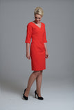 L 1012 Vibrant Orange V-Neck Dress