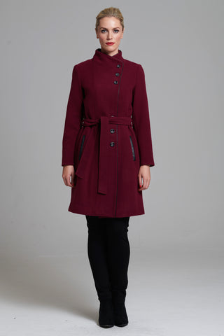 L 1044 Bordeaux Asymmetric Coat