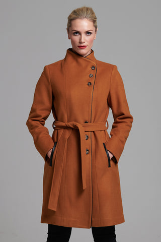 L 1044 Tan Asymmetric Coat