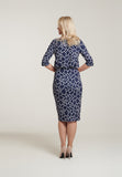 1060 Navy & White Print Dress
