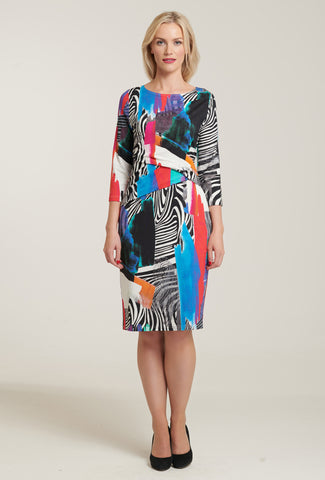 1075 Multi Print Ruched Dress