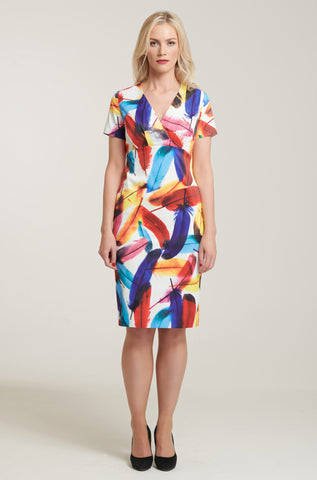 1076 Feather Print Dress