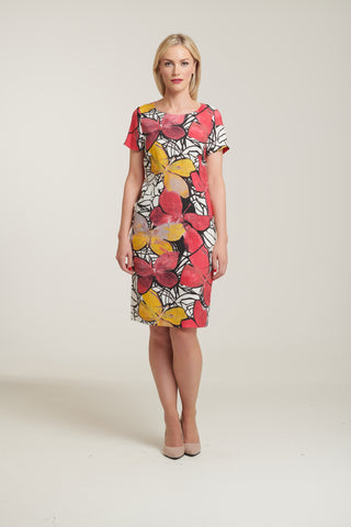 L 1078 Butterfly Printed Linen Dress