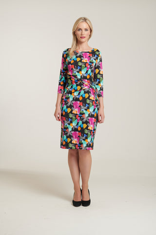 1083 Abstract Print Ruched Dress