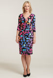 L 1084 Polka Dot Print Wrap Dress