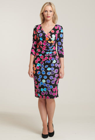 1084 Polka Dot Print Wrap Dress