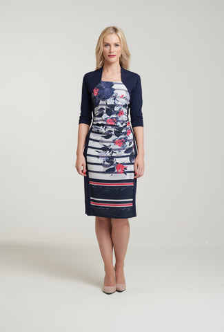 L 1100 Floral Stripe Dress