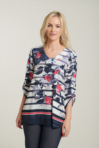 L 1101 Floral Stripe Top