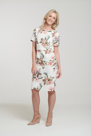 1109 Pastel Floral Overlay Dress
