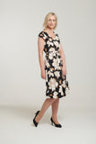 L 1118 Cream & Black Rose Print Dress