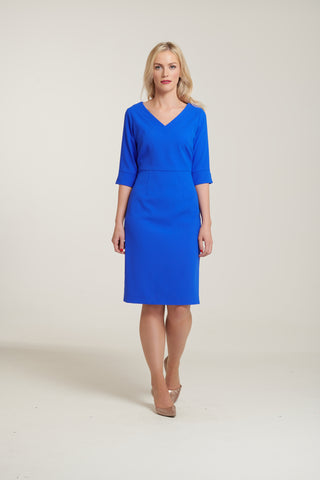 L 1126 Blue V-Neck Dress