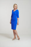 1126 Blue V-Neck Dress