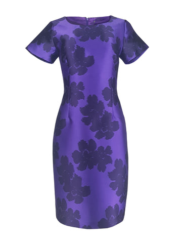 L 1128 Purple Floral Occasion Dress